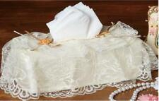 Lace Garden Tissue Box Cover with Layers of Lace & Ribbon Rosettes Polyester
