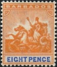Barbados 1905  Edward VII  8d Orange & Ultramarine  SG.142 Mint (Hinged)