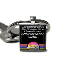Pink Floyd Keyring Comfortably Numb Pink Floyd Silver plated handmade Keyring
