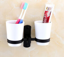 Black Porcelain Bathroom Double Tumbler Aluminium Holder Ceramic Cups Wall Mount