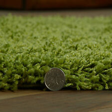 LARGE 5cm HIGH VERY THICK LIME GREEN COLOUR MODERN SHAGGY RUG SIZE 160 x 230cm