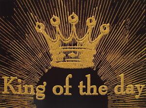 "Postkarte+U.""King of the day""Grußkarte*Geburtstag*Mann*schwarz*gold*Krone*edel"