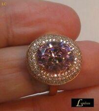 Large 12.08 ct Pink Tourmaline and White Gemstone Halo Ring Paved