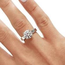 Wedding Ring 14k White Gold 1.50Ct Round Moissanite Diamond Promise Engagement