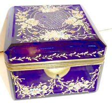 Antique Bohemian Moser  glass box