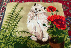 """Vintage Latch Hook Rug White Cat With Geranium And Fern Shillcraft  28"""" By 22"""""""