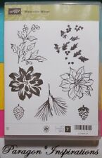 NEW Stampin Up WATERCOLOR WINTER Clear Poinsettia Pine Cone Christmas Ornamental