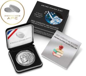 2021 P Christa McAuliffe Commemorative Uncirculated Silver Dollar Coin BU