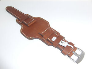 FLUCO Genuine Leather Watch Band With Watch Bottom Leather-Layer, 24 mm Cognac