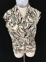 New York Company sleeveless top blouse stretch black white cream Size M medium