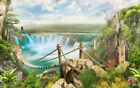 Framed canvas art print giclee view of bridge over waterfall forest parrots