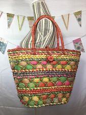 Vintage Large Colorful Woven Straw Tote Handbag Shopping Farmers Market Errands