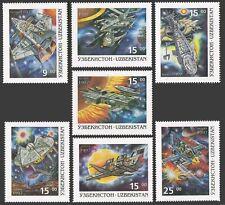 Uzbekistan 124-130,131,MNH. Futuristic Space Travel,1997.Shuttle-type vehicles.