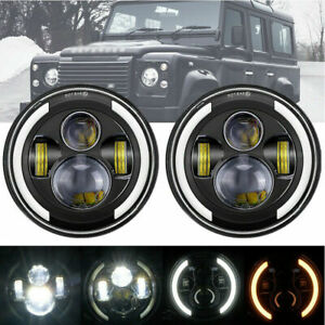 2x 7'' Inch LED Headlights Halo DRL for LAND ROVER DEFENDER TD4 TD5 90/110 E9