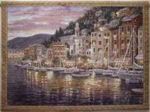 "TAPESTRY, Italian Seaside Sunset - ""PORTOFINO"" 54""x 40"""