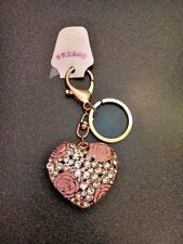BEAUTIFUL HEART ROSE AND GEM GOLD COLOR KEYCHAIN (#2-22)