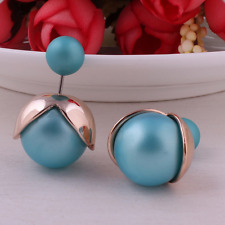 Blue Korean fashion cute candy color flowers double sided Pearl Earrings