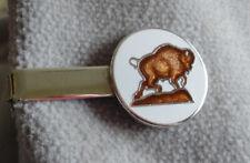 "Vintage 1960s Silvertone Tie Clip w/Round Enamel Buffalo~1.5"" Long"