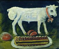 """perfect 36x24 oil painting handpainted on canvas """"A paschal lamb """"N5466"""