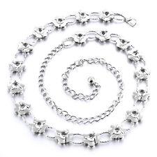 Ladies Waist Chain Silver Diamond Belt Dress Designer Womens One Size Diamante