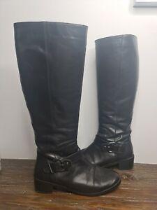 Django And Juliette 'Falldown' Black Long Knee High Leather Boots size 38 AU 7