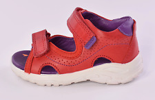Ecco Peekaboo 751801 Infant Girls Red Leather Sandals UK 6 EU 23 US 7-7.5
