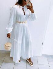 NEW  H&M WHITE LONG COTTON MAXI KAFTAN DRESS, BOHO, SIZE M.