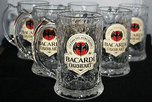 Bacardi Oakheart 35 cl  Gläser 6x mit Henkel Rum NEU & OVP Longdrink Mische Glas