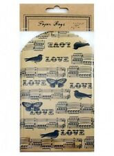 "Vintage Set of 6 Brown Newspaper Style ""Love"" Printed Paper Gift Bags 10x20cm"