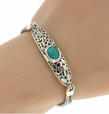 """▌925 Sterling Silver Turquoise Bali Tow Row Chain Bracelet Size 6 1/2"""" » B216"""