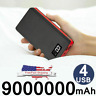 900000mAh 4USB External Portable Power Bank LCD LED Charger for Cell Phone US