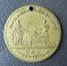 VERY ATTRACTIVE 1831 BRITISH TOKEN MEDAL - KING WILLIAM IV & ADELAIDE CORONATION