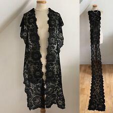 Antiguo español Mantilla luto Estola seda hecha a mano de encaje de Chantilly