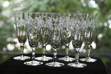 Gorgeous, Cut/Engraved Glass Aperitif Glasses (7) Rock Sharpe