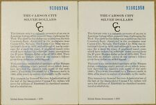 1891-CC GSA COA CARD & BOX - NO COIN