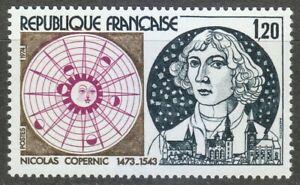 France 1974 MNH Mi 1890 Sc 1416 Nicolaus Copernicus ,Polish astronomer **