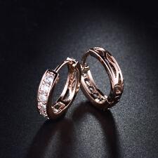 HUCHE Retro 18K Rose Gold Filled Channel 2mm Diamond Topaz Lady Wedding Earrings