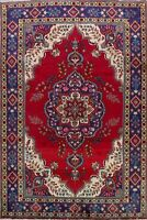 Excellent Floral Tebriz Classic Hand-Knotted Area Rug RED Oriental Carpet 7x10