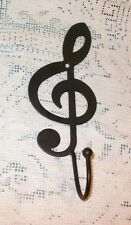 NEW~Black Iron Musical Treble Clef Wall Hook Coat Hat Music Hanger Towel