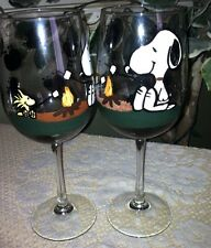 hand painted snoopy wine glasses - set of 2