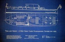 Classic Great Lakes 45 ft Cruiser Yacht 1923 Blueprint Plan 18x30   (164)