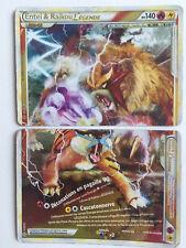 Carte pokemon ultra rare entei et raikou legende partie haute et basse excellent