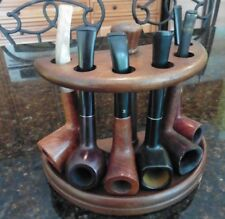 Vintage wooden Pipe Stand with 6 Estate find tobacco smoking pipes Mixed briar +