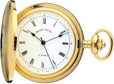Pocket Watch Gold Plated Full Hunter - 17 Jewel Mechanical - Albert Chain - Gift