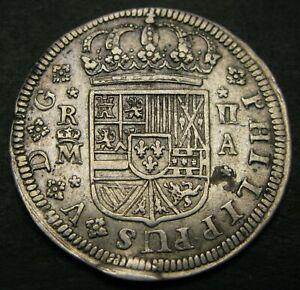 SPAIN (Kingdom) 2 Reales 1724 A - Silver - Philip V. - XF- - 1155