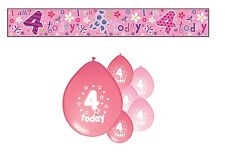 4th BIRTHDAY PARTY PACK DECORATIONS BANNER BALLOONS (SE.P.1)