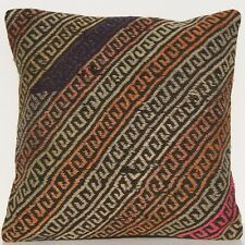 "18"" Home Design Pillow Cover Turkish Handmade Multi Colored Square Wool Area Rug"