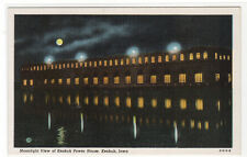 Power House Moonlight Keokuk Iowa linen postcard