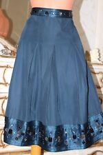 Marks & Spencer Dark Petrol Silk & Cotton Mix Pleated Ladies skirt size 14