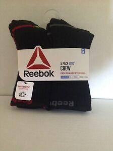 Reebok Boys Crew Socks 5 Pack Performance Trainng Moisture Control Black S or M